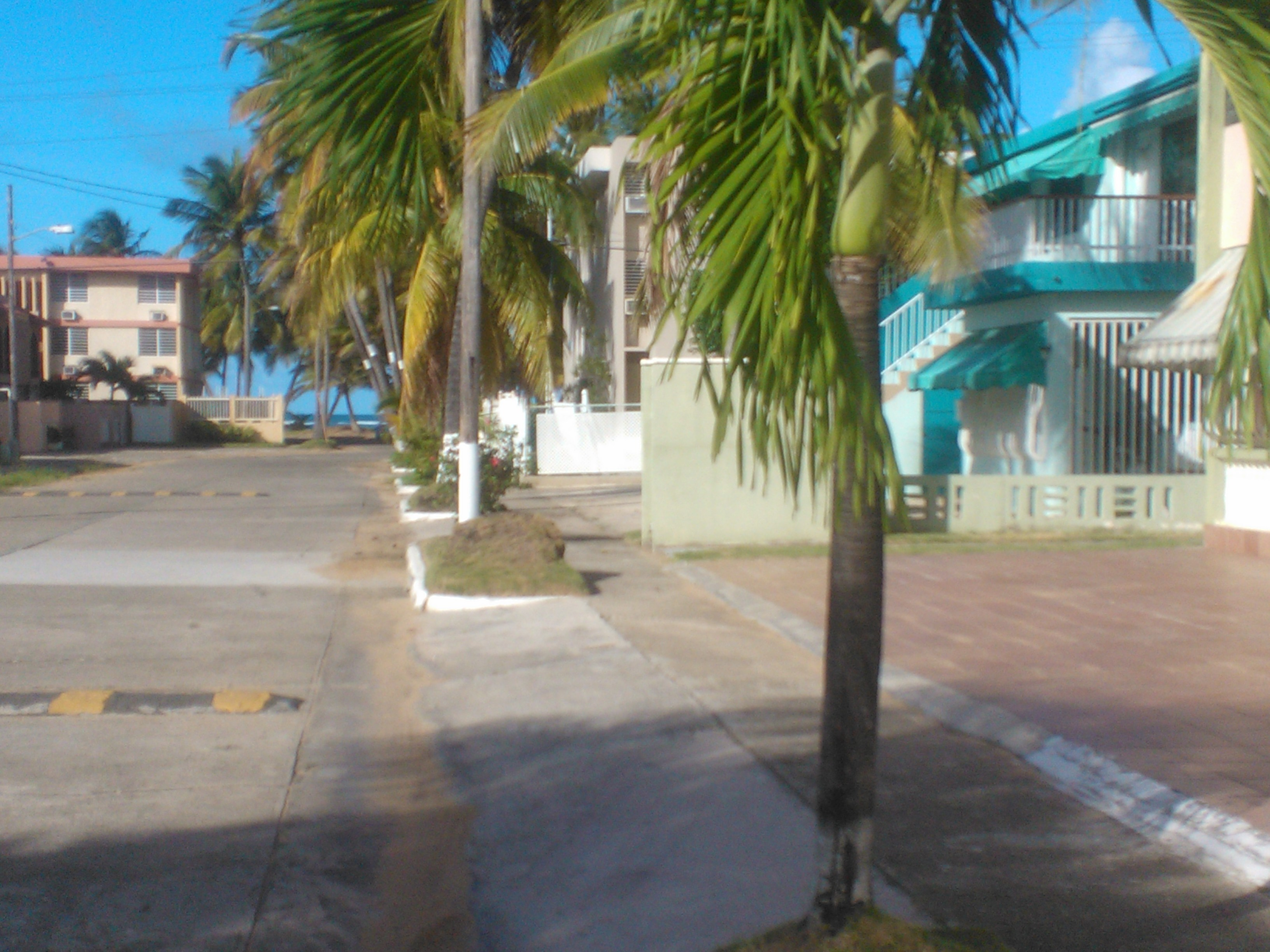 Street view of beach from drive